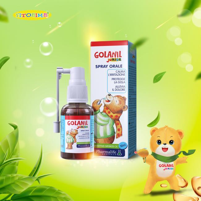 Golanil Junior - Xịt họng từ thảo dược chuẩn hóa châu Âu giúp giảm ho, thông họng tức thì cho trẻ